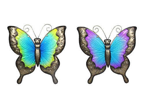 30cm metal and glass butterfly wall art