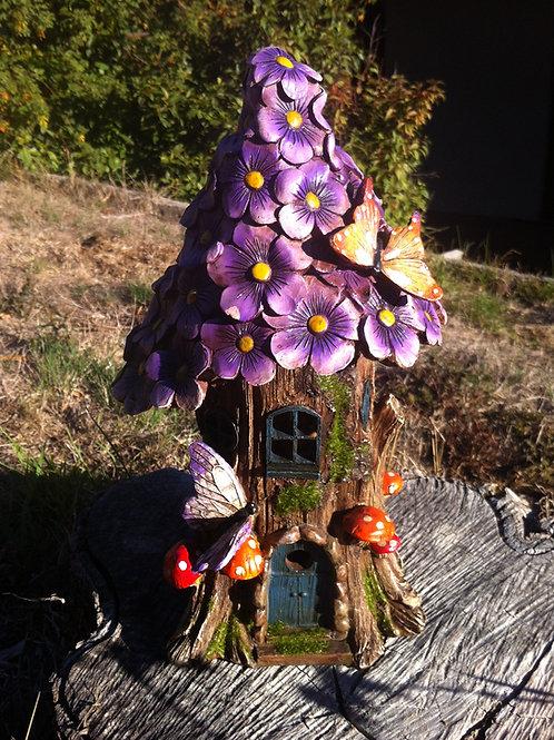 32cm solar powered purple flower fairy house