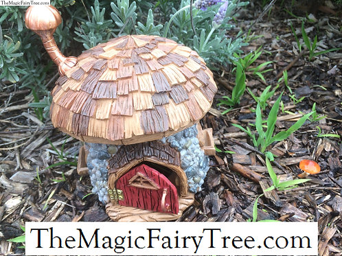 Shingletown wooden mushroom gnome fairy house