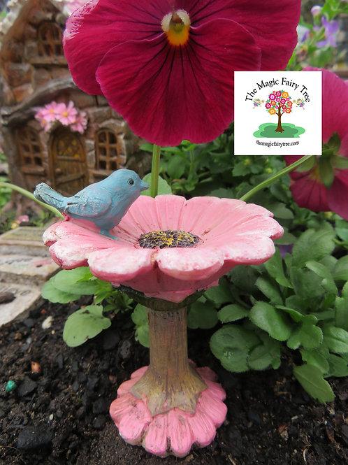 Pink Fairy Garden Birdbath