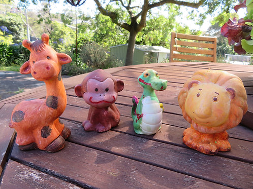 Ready to paint ceramic giraffe, lion, monkey and crocodile