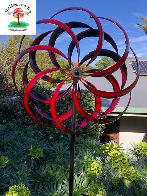 Red Round Metal Kaleidoscope Windmill