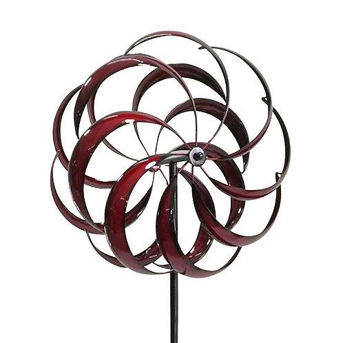 Red Kaleidoscope Round Metal Windmill