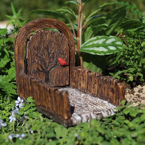 Mini Cardinal fairy doorway / gate with opening door and path
