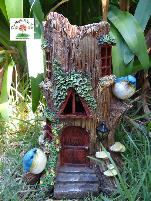 Solar powered Fairy Tree Stump House