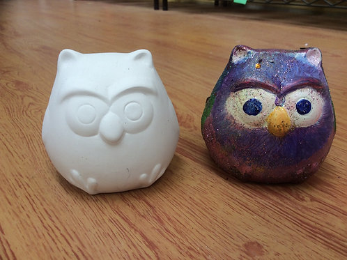 Ceramic ready to paint puffed owl pottery figurine