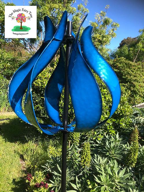 Blue Metal Tulip Design Windmill