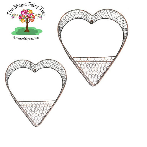 Set of 2 metal heart wall planters