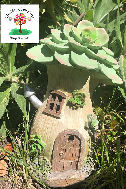 Solar Succulent Fairy House with Chimney