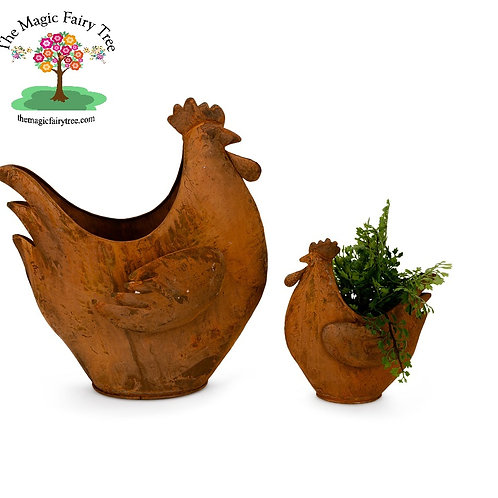 Rusty Chicken Planter Pair