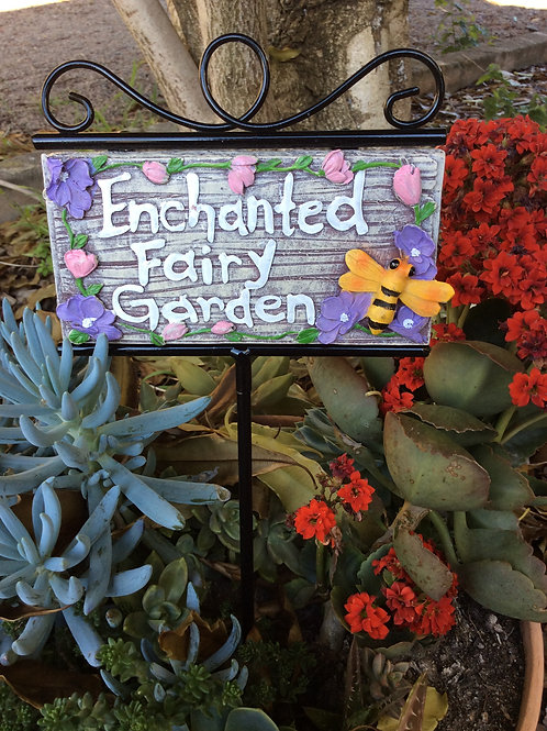 Fairy garden plaque sign