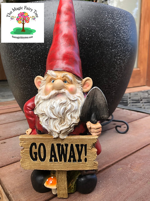 XL 37cm Go Away gnome with sign