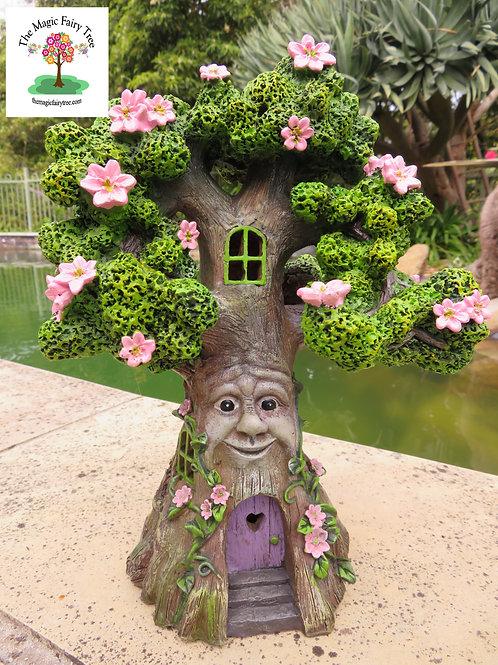 Solar wisdom tree with pink flowers fairy house