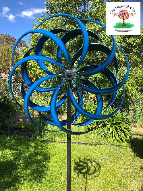 Blue Kaleidoscope Round Metal Windmill