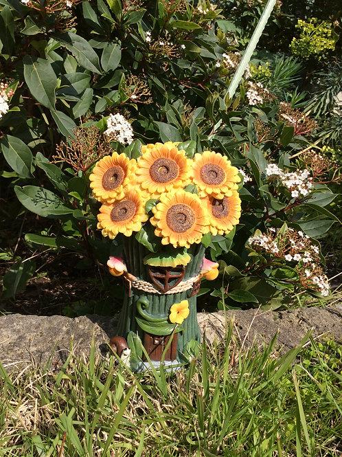20cm solar flower fairy house - sunflower