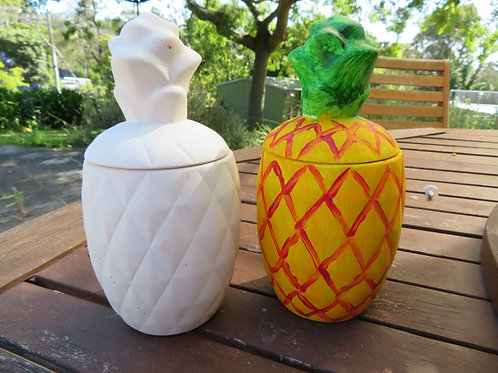 Ready to paint large pineapple jar pottery