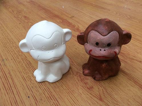 Ceramic ready to paint monkey pottery figurine