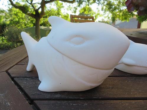 Ceramic bisque ready to paint shark box & figurine
