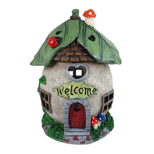 Solar welcome fairy house