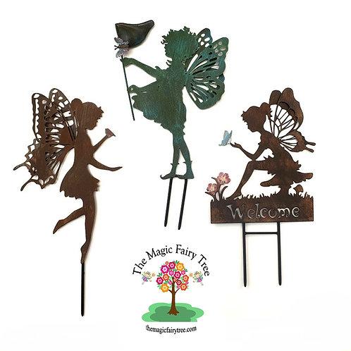 Set of 3 Butterfly Wings Metal Fairy Stake