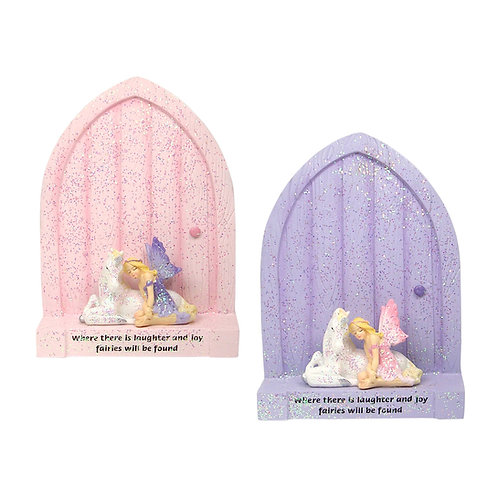 Door with unicorn and fairy figurine