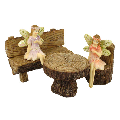 Remarkable Fairy Garden Furniture Log Bench Set Bralicious Painted Fabric Chair Ideas Braliciousco