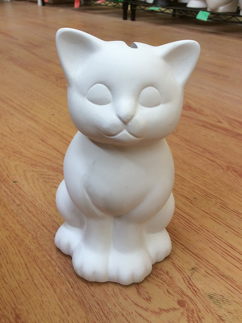 Ready to paint kitty ceramic cat money box bank