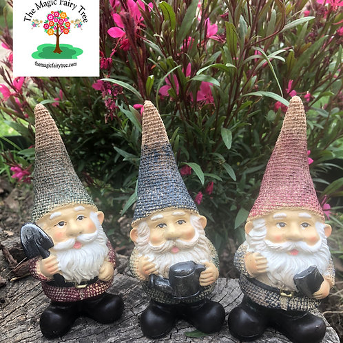 Set of 3 14cm Gardening Gnomes