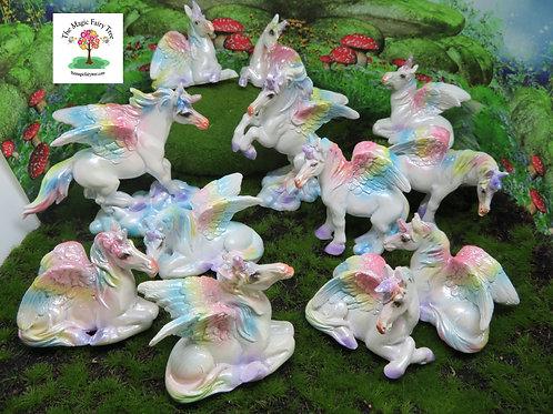 Rainbow unicorn Pegasus figurines