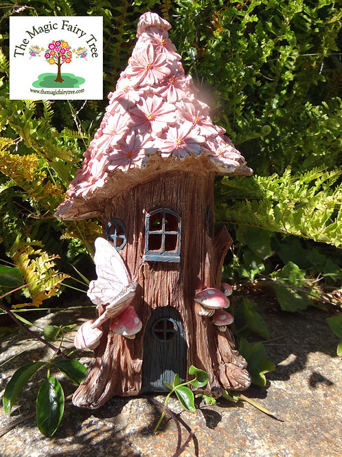 32cm solar powered pink flower fairy house