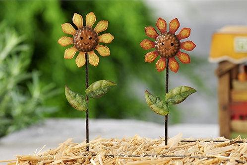 Metal sunflower picks - set of 2