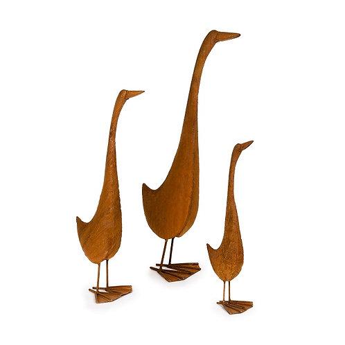 Rusty Metal Runner Ducks - set of 3