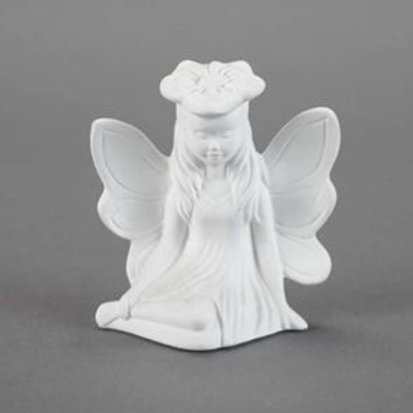 Ready to paint ceramic resting fairy figurine