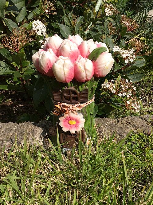 20cm solar flower fairy house - tulip