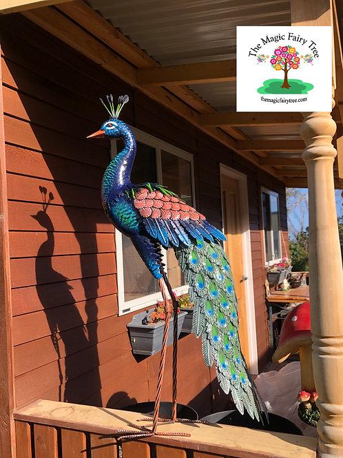 96cm Metal Peacock Garden Statue