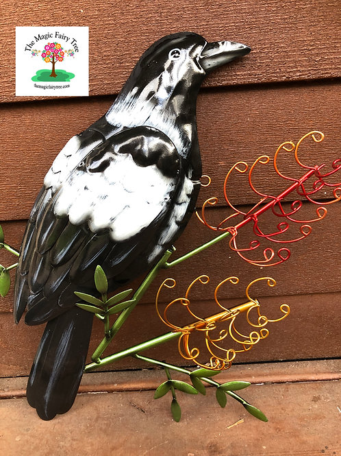 Magpie with grevillea wall art