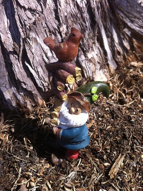 Miniature Gnome with bird