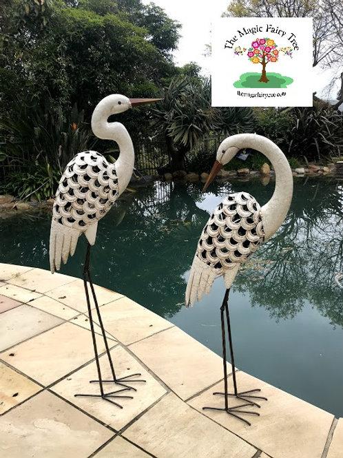 White Heron Egret Metal Garden Sculpture