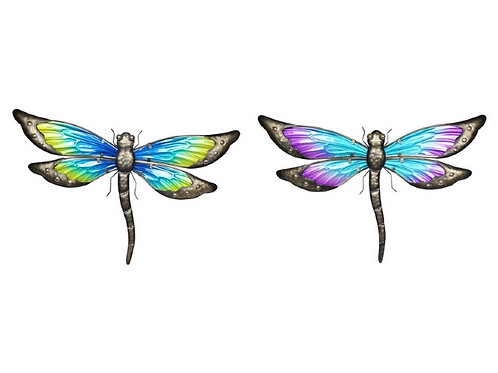 46cm metal and glass dragonfly wall art