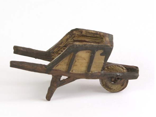 Fiddlehead miniature rustic wheelbarrow