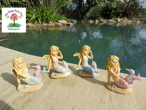 8cm mermaid with seahorse or dolphin