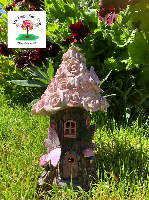 Solar powered rose flower fairy house
