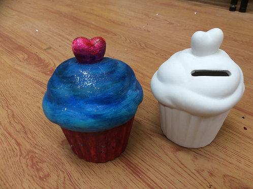 Ceramic ready to paint cupcake money box pottery bank
