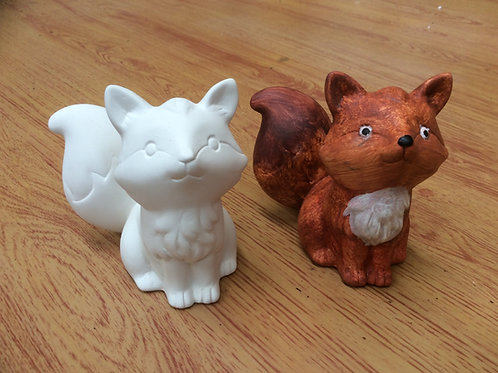Ceramic ready to paint pottery fox figurine
