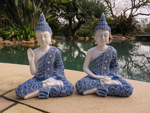 23cm Blue Willow Buddha Statue