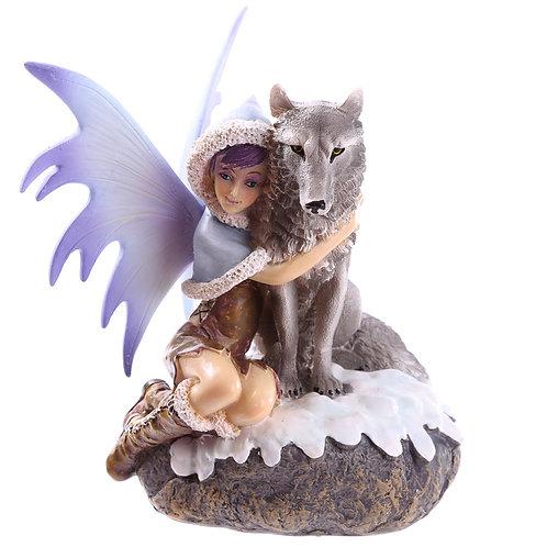 Mystic Realms - Natasha Faulkner -  Snow fairy with wolf