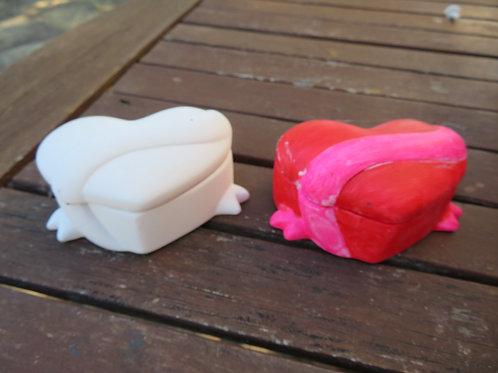 Ready to paint heart box pottery