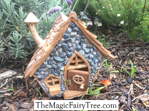 Shingletown wooden crooked fairy or gnome cottage