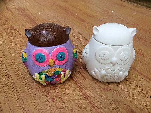 Ceramic ready to paint pottery owl jar box