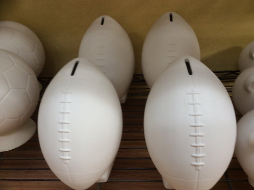 Ceramic bisque ready to paint football rugby money box bank